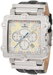 """JBW-Just Bling Men's JB-6215-238-B """"Phantom"""" Silver Diamond And Stainless Steel Bezel Leather Band Watch"""