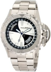 Haurex Italy Men's 7A365US1 Black Sea Silver Dial Day and Date Minute Track Steel Bracelet Sport Watch