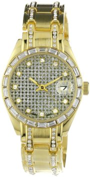 Geneve Elegante Men's GEN-5075 - Gld Classic Crystal Baguette and Rhinestone Encrusted Watch