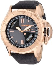 Haurex Italy Men's 8R365UGH Black Sea Day and Date Rose-Gold PVD Sport Canvas Strap Watch