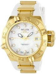 Invicta Women's 0540 Subaqua Noma IV Collection 18k Gold-Plated Stainless Steel and White Polyurethane Watch