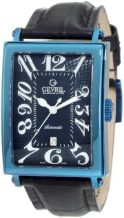Gevril Men's 5006A Avenue of America Swiss Automatic Blue Leather PVD Watch