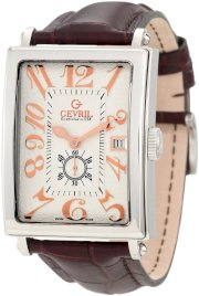 Gevril Men's 5045A Avenue of America Swiss Handcrafted Rose-Gold Sub-Second Leather Watch
