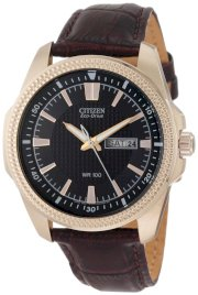 Mens Citizen Eco Drive WR100 Watch in Stainless Steel with Rose Gold with Brown Leather Strap (BM8493-08E)