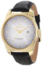 Invicta Men's 11739 Vintage Silver Dial Black Leather Watch