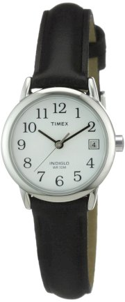 Timex Womens Watch # T2H331 Quick Date Feature Genuine Leather Strap Water Resistant Black Band,White Face