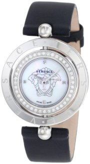 Versace Women's 79Q91SD497 S009 Eon Two Rings 40 Diamond Black Satin Mother-Of-Pearl Watch