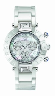 Versace Women's 95CCS1D497 SC01 Reve Mother-Of-Pearl Dial Chronograph White Ceramic Bracelet Watch