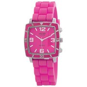"Golden Classic Women's 2213-Pink ""Social Jelly"" Trendy Square Rubber Strap Watch"