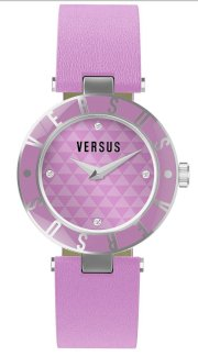 Versus Women's 3C71300000 Logo Lavender Dial with Crystals Genuine Leather Watch