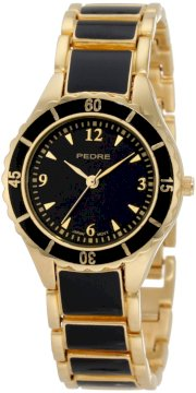 Pedre Women's 5145GKX Gold-Tone with Black Enamel Bracelet Watch