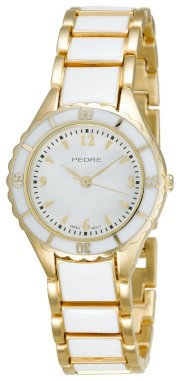 Pedre Women's 5145GWX Gold-Tone with White Enamel Bracelet Watch