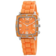 "Golden Classic Women's 2213-Orange ""Social Jelly"" Trendy Square Rubber Strap Watch"
