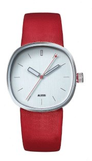 Alessi Unisex AL5003 Tic Stainless-Steel and Red Leather Strap Watch