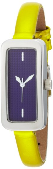 EOS New York Women's 28LYELPUR Cosmo Skinny Purple with Metallic Yellow Strap Watch