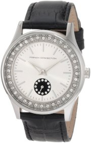 French Connection Women's FC1080SB Classic Silver Black Crystals Watch