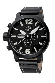 Haemmer Men's HC-16 Giants Black PVD Chrono Leather Watch