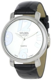 "Golden Classic Women's 2265-Blk ""Banded Luxury"" Classic Silver Bezel Leather Band Watch"