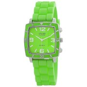 "Golden Classic Women's 2213-Green ""Social Jelly"" Trendy Square Rubber Strap Watch"