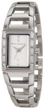 French Connection Women's FC1037S Classic Silver Crystals Watch