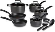 Bộ nồi T-fal D913SC64 Signature Hard Anodized Oven Safe Nonstick Thermo-Spot Heat Indicator 12-Piece Cookware Set, Gray