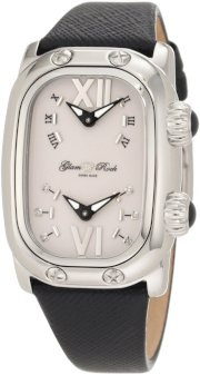 Glam Rock Women's GR72403 Monogram Diamond Accented Dual Time Black Leather Watch