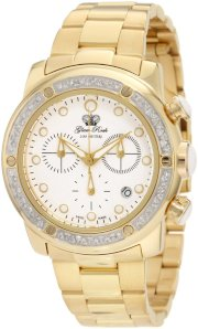 Glam Rock Women's GR50132D Aqua Rock Diamond Accented Chronograph White Dial Gold Ion-Plated Stainless Steel Watch