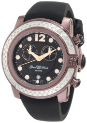 Glam Rock Women's GR32127D SoBe Chronograph Diamond Accented Black Dial Black Silicone Watch