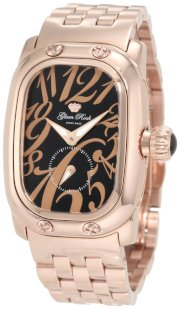 Glam Rock Women's GR72308 Monogram Black Dial Rose Gold Ion-Plated Stainless Steel Watch