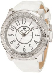 Glam Rock Women's GR50001D Aqua Rock Diamond Accented White Dial White Leather Watch