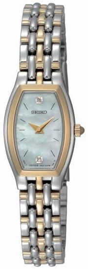 Seiko Women's SUJG16 Dress Two-Tone Solid Stainless-Steel Case and Bracelet 2 Diamonds White Mother-of-Pearl Dial Watch