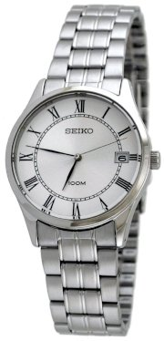 Seiko SGEF07 Stainless Steel Silver Tone Dial Dress Link Bracelet Midsize Watch