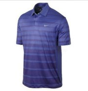Nike Golf Tiger Woods TW Stripe Polo 518104 Blue Size SMALL