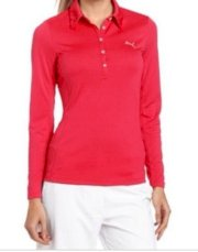 *NWT* PUMA Women's Golf Long Sleeve Polo with Dry Cell Technology! Pink - Small