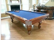 Beautiful Brunswick Pool Table 4x8 mahogany finish, blue felt - Low reserve