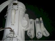 Vingage Burton white faux leather golf bag with original head covers