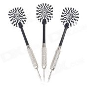 03 Dartboard Pattern Sharp Darts - Black + Silver + White (3 PCS)