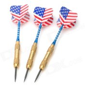 P001 United States National Flag Style Brass Darts - Golden + Blue + Black (3 PCS)