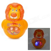 3-In-1 Cute Lion Style Music Box Roly-Poly Toy w/ 2-LED - Yellow + Orange (3 x LL1154)
