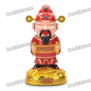 The God of Wealth Figure Model Swing Head / Body with Chinese Festival Music - Red (3 x AA)