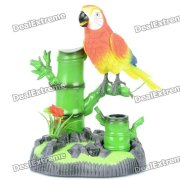 Voice Control Sound Activated Chirping Parrot Model Toy (4 x AA)