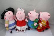 "4 Pcs New Large Peppa Pig + George PIG Soft Plush Toys Set 9"" with New Tag"