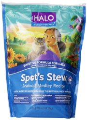 Halo Spot's Stew Natural Dry Cat Food, Sensitive Cat, Seafood Medley, 6-Pound Bag