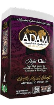 Adam Perfect Chai, (2 Pack) made with %100 pure Ceylon Tea and real Ceylon Cinnamon, 18 count 2 gram luxury pyramid sachets (36 Sachets Total) packed in designer tins, %100 pure Ceylon Tea Marked with Ceylon Lion Seal Logo as proof of premium quality cert
