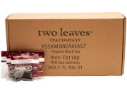 Two Leaves Tea Company Organic Assam Black Tea, 100-Count Box