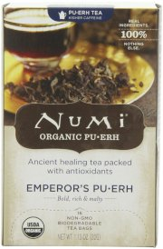 Numi Organic Tea Emperor's Puerh, Full Leaf Black Tea, 16-Count Tea Bags (Pack of 2)
