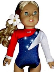 New Quality USA Olympic Gymnastics Dance Leotard with Rhinestones Set - Fits American Girl 18 inch Doll Clothes Lot