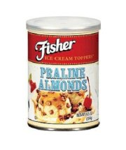 Fisher, Ice Cream Toppings, Crushed Almond Prailine, 6.5oz Can (Pack of 4)