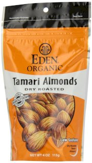 Eden Organic Tamari Almonds, Dry Roasted, 4-Ounce Package (Pack of 3)