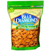 Blue Diamond Almonds Whole Natural Resealable Zipper Bag 16 Oz
